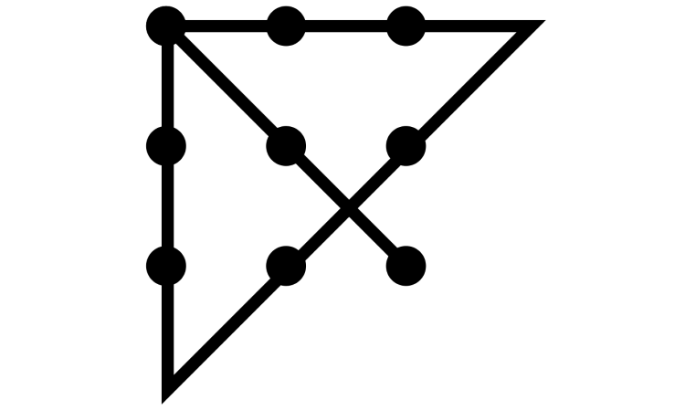 Neun-Punkte-Problem: Wer alle Punkte mit nur vier geraden Linien verbinden will, darf sein Denken nicht begrenzen